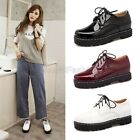 Womens Ladies 2016 New Patent Lace Up Military Combat Oxford Shoes Plus Size x3