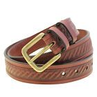 """Made In USA 1 3/8"""" Chestnut Bridle Leather Embossed Belt Antique Brass Buckle"""