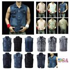 Men's Sleeveless Tank Vest Fashion Vest Denim Jacket Jean Jacket Casual Outdoor