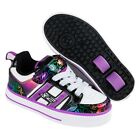 Heelys X2 Bolt Plus Shoes - White/Black/Rainbow Hearts with built in Lights