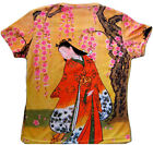 RED KIMONO SAKURA Japanese Art Print T Shirt Misses Cap Sleeve S,M,L,XL NEW P&N