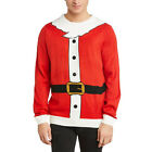 Adults Unisex Novelty Red Santa Knitted Christmas Xmas Jumper With Beard & Belt