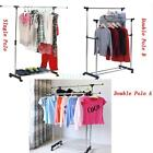 Single/Double Adjustable Portable Clothes Hanger Rolling Garment Rack Duty Rail