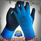 5 Pairs Blue Aqua Latex Coated Waterproof Safety Gloves New
