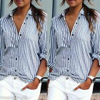 Gift Women Fashion Blue White Stripe Sexy Casual Long Sleeve blouse Tops