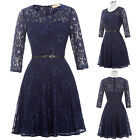 Elegant Womens 3/4 Sleeve Round Collar Lace Cocktail Evening Prom Party Dress