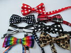 KIDS NOVELTY FASHION WEDDING FANCY DRESS BOW NECK TIE:TARTAN SPOTS ANIMAL STRIPE