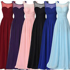 Sexy Women's Formal Long Lace Prom Evening Party Bridesmaid Crew Neck Maxi Dress