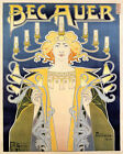 POSTER BECAUER CANDELABRUM INCANDESCENT GAS BRIGHT LIGHT VINTAGE REPRO FREE S/H
