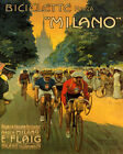 POSTER BICYCLE MILANO BIKE RACE ITALY CYCLING SPORT VINTAGE REPRO FREE S H