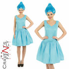 Ladies Blue Troll Pixie Fancy Dress Costume & Wig Fairytale Gnome Adult Womens