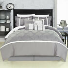 Vermont Grey 12 Piece Comforter Bed In A Bag Set With Sheet Set