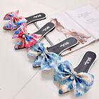 Chic Crystal Bowknot Slippers Flats Sandals Pointed Toe Shoes Slip On Mules