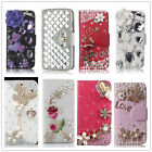 Luxury Bling Diamond Crystal PU Leather Card Jewelled Wallet Case Stand Cover