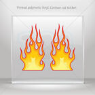 Decals Decal Pair Of Color Flames Atv Bike polymeric vinyl Garage mtv RS7X2