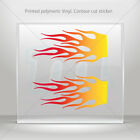 Decal Sticker Pair Of Flames Red Orange Yellow Vehicle  mtv ZE293