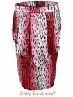 Ladies Womens Leopard Printed Peplum Frill Skirt Knee Length Midi Skirts