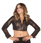 Carmin Rocker Style Sexy Cropped Jacket Black Bronze Sn