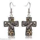 GIFT New Women Retro 3D Carving Flower Cross Earrings Eardrop Earbob Jewelry