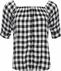 Womens Gingham Check Gypsy Top Ladies Boho Off Shoulder Short Sleeve Button 8-14
