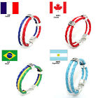 "World Cup FIFA Soccer Fans National Flag Color Unisex  Leather Bracelet 8"" Chic"