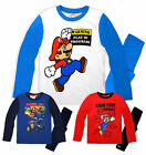 Boys Nintendo Super Mario Long Sleeved Pyjamas New Kids Mario Bros PJs 4-10 Yrs