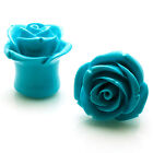 PAIR Body Jewelry Turquoise Acrylic Tunnel Expander Rose Ear Plugs | US SELLER
