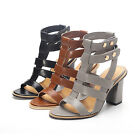 US Size New Peep Toe Strap Pumps Thick High Heel Girl's Sandals Lady Shoes s665