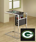 Fc671 Nfl Logo Theme Slide Under Glass Shelf Tv Tray Magazine Rack Coffee Table