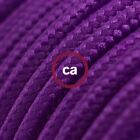 RM14 Violet Solid Round Electric Cable covered by Rayon fabric