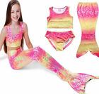 Mermaid Tail SwimWear Girls Ocean Beach Pools Natatorium Swimsuit Costume Bikini