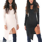 GIFT Party Dresses Women Sexy Deep V Neck Halter Long Sleeve Dress Split Bandage