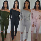 Womens Off Shoulder Slit Knee Loungewear Jumpsuit Romper Ladies Jogging Set 4-12