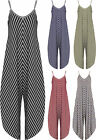 Womens Striped Harem Jumpsuit Ladies Print Strappy Sleeveless Trousers 8-14