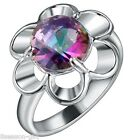 GIFT Women Fashion Silver Plated Sunflower Multicolour Gem Diamante Ring