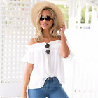 New Womens Ladies Casual Off the Shoulder Tops Tank Lesiure T-Shirt Blouse