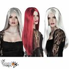 Ladies Halloween Gothic Ghost Witch Bride Fancy Dress Costume Long Straight Wig