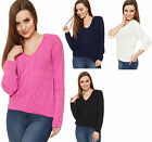 New Womens Plain Stretch V Neck Knit Cable Long Sleeve Top Ladies Jumper 6-16