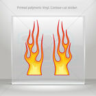 Decal Sticker Pair Of Color Flames Atv Bike polymeric vinyl Garage mtv RS7X3