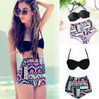 Women Retro High Waist Bikini Sets Floral Boyshort Bandeau Padded Boho Swimsuit