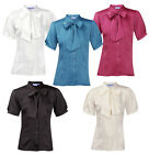 ENSEMBLE Ladies New Short Sleeve Satin Pussy Bow Blouse Shirt Top Work Office
