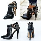 Ladies Sexy Leather Diamante Buckle Strap High Heel Ankle Boots Shoes Plus Size