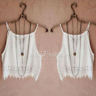 Summer Women Sleeveless Lace Floral Crop Blouse Tops Casual Strap Shirt Camisole