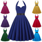Vintage Style 50s Swing Womens Halter Pleated Cocktail Evening Party Prom Dress