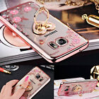 Luxury Diamond Stand Ring Silicane Clear Case Cover For Samsung Galaxy Phones