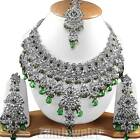 Silver Plated Zirconic Chand Mina Ethnic Jewelry Necklace Sets FASHION EDH