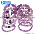 "Handmade Natural Light Purple Amethyst Beaded Round Stretchy Bracelet 7 1/2"" GB"