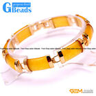 "Rectangle Jade Gold Plated Link Bracelet 7"" Fashion Jewelry Gift Free Shipping"