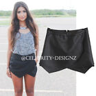 sh32L CFLB Womens Trendy Pleated Wrap Black Faux Leather Skirt Size 8 10 12 14