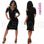 Sexy Off Shoulder Side Split Dress Party Club Evening Wear Size 6 8 10 XS S M